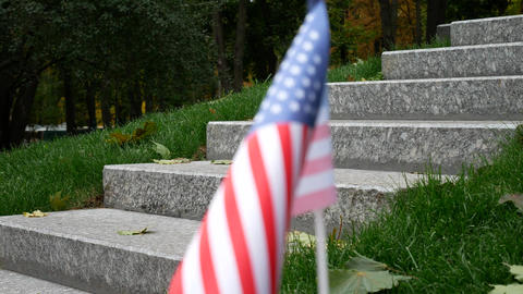 Man And American USA Flag on Veterans Day 11th November in America Filmmaterial