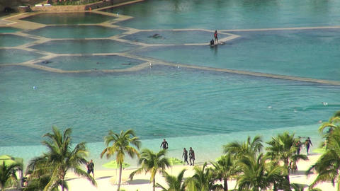 Tourists walking up beach from dolphin pool Footage