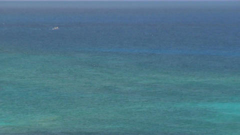 Wide view of blue green caribbean waters Footage