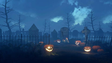 Spooky night cemetery with halloween pumpkins 画像