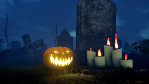 Halloween pumpkin near old tombstone at night Close up Animation