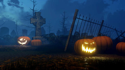 Jack-o-lantern pumpkins at night graveyard Animation