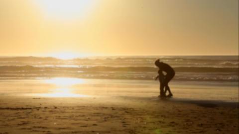 Mom Child Beach Play Footage
