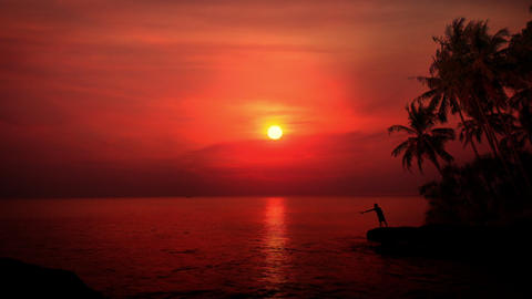 Man Fly Fishing At Sunset Amazing Colors Of Tropical Nature With Palm Trees stock footage