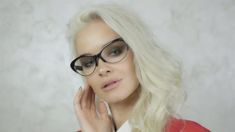 Portrait of Beautiful Young Woman With Glasses Footage