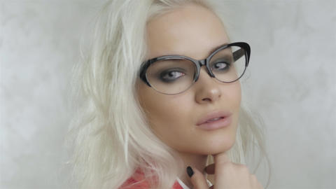 Beautiful Young Girl Model With Glasses Footage