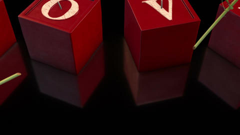 3D Love Candles and Falling Roses in Black Background Footage