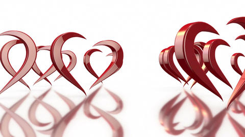 3D Stylized Rotating Love Hearts in White Background Footage