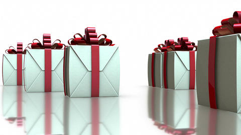 3D Rotating Gift Boxes in White Background 圖片