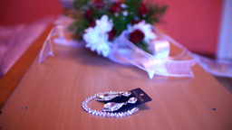 earrings and bouquet of a bride 5a Footage