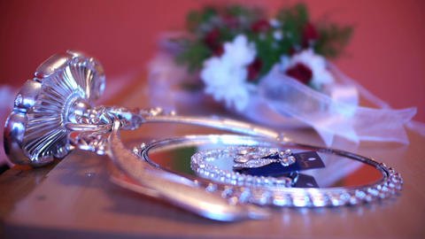 Earrings And Bouquet Of A Bride 7a stock footage