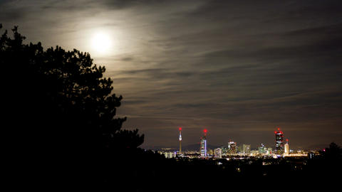 Night time-lapse moonrise skyline ビデオ