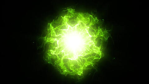 Green Energy Core with Waves and Sparkles Motion Graphic Element 画像