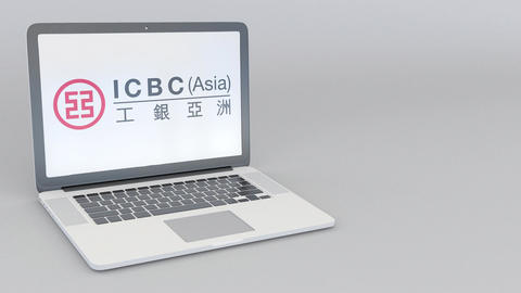 Rotating opening and closing laptop with Industrial and Commercial Bank of China Footage