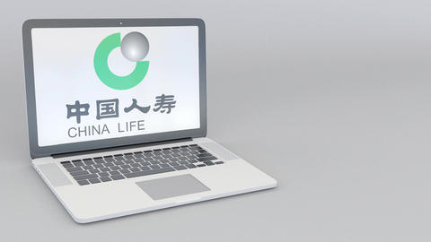 Rotating opening and closing laptop with China Life Insurance Company logo Footage