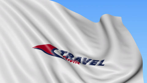 Waving flag of Travel Service airline against blue sky background, seamless loop Footage