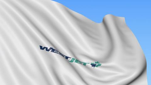 Waving flag of WestJet against blue sky background, seamless loop. Editorial 4K Footage