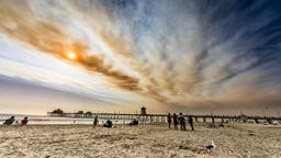 Smoky sky timelapse Huntington Beach Pier Footage