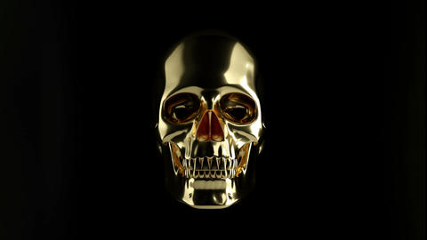 Golden Skull with crossed bones or totenkopf with alpha Animation