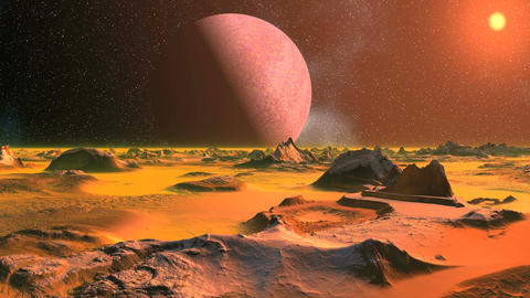 Alien Landscape in the Orange Light Animation
