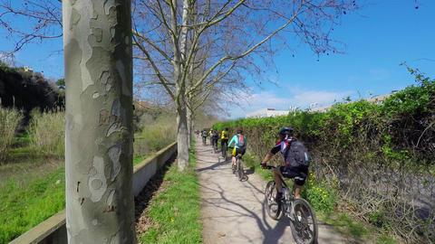 Mountain Bikers Flock Ride Image
