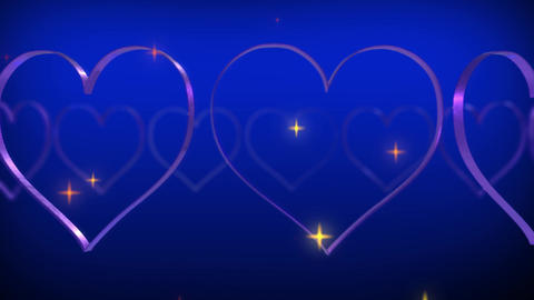 Heart glitter stars particle rotating loop blue 4k background Animation