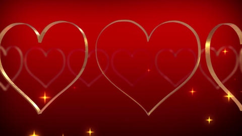 Heart glitter stars particle rotating loop red 4K Animation