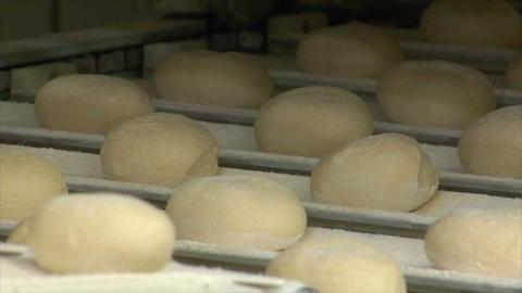 german bakery roll bun on conveyor belt close 10743 Stock Video Footage