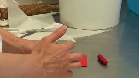 german confectioner build marzipan rose 10745 Stock Video Footage