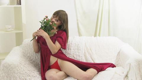 beauty girl on sofa Stock Video Footage
