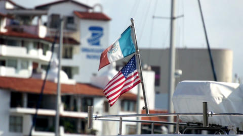 Mexican and American Flag Stock Video Footage