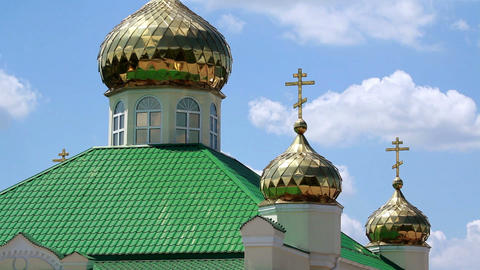Golden domes of the orthodox church Stock Video Footage