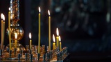 Wax candles in the orthodox church Footage