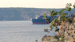SHIP APPEARS BEHIND THE OLD CASTLE Stock Video Footage