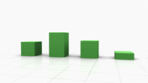 3D Growing Bar Graph w. Arrow Stock Video Footage