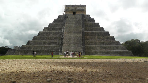 Chichen Itza Mexico Yucatan Kukulcan Pyramid handheld 03 Stock Video Footage