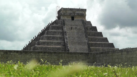 Chichen Itza Mexico Yucatan 13 Kukulcan Pyramid handheld Stock Video Footage