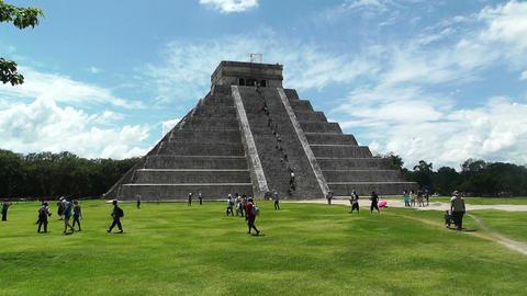 Chichen Itza Mexico Yucatan Kukulcan Pyramid 25 handheld Stock Video Footage