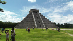 Chichen Itza Mexico Yucatan Kukulcan Pyramid 25 handheld Stock Video Footage