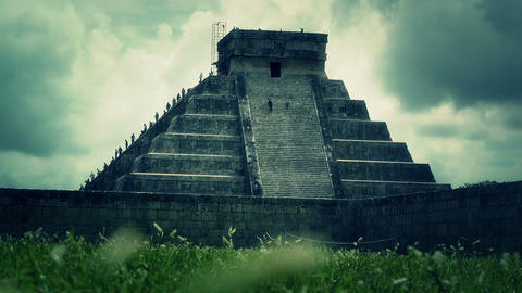Chichen Itza Mexico Yucatan Kukulcan Pyramid 41 stylized Stock Video Footage