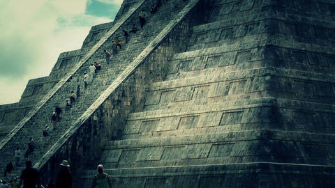 Chichen Itza Mexico Yucatan Kukulcan Pyramid 47 stylized Stock Video Footage
