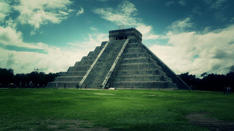Chichen Itza Mexico Yucatan Kukulcan Pyramid 49 stylized Stock Video Footage