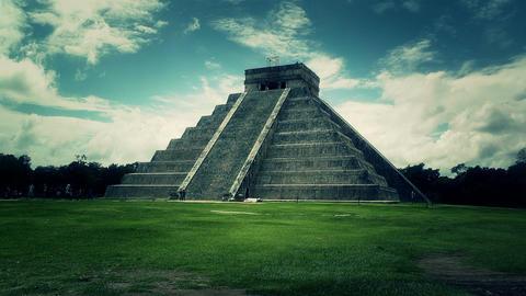 Chichen Itza Mexico Yucatan Kukulcan Pyramid 49 stylized Footage