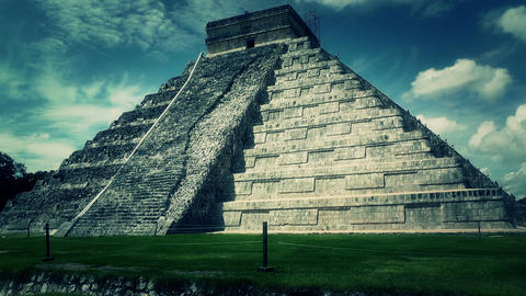 Chichen Itza Mexico Yucatan Kukulcan Pyramid handheld 53... Stock Video Footage