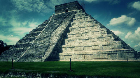Chichen Itza Mexico Yucatan Kukulcan Pyramid handheld 53... Stock Video Footage