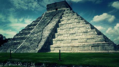Chichen Itza Mexico Yucatan Kukulcan Pyramid handheld 53 stylized Footage