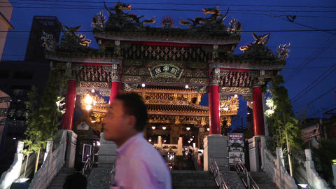 Chinese Shrine in Yokohama Chinatown Japan Footage