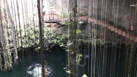 Dzonot Dzitnup Cenote in Mexico Yucatan 06 Stock Video Footage