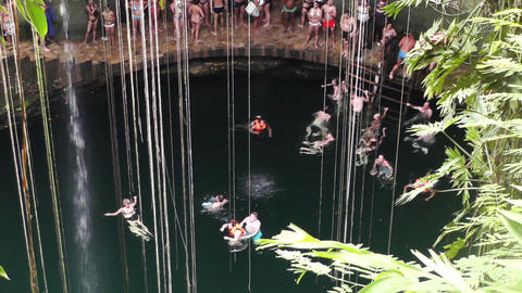 Dzonot Dzitnup Cenote in Mexico Yucatan 10 Stock Video Footage