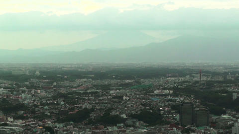 Mount Fuji View over Yokohama Japan Stock Video Footage